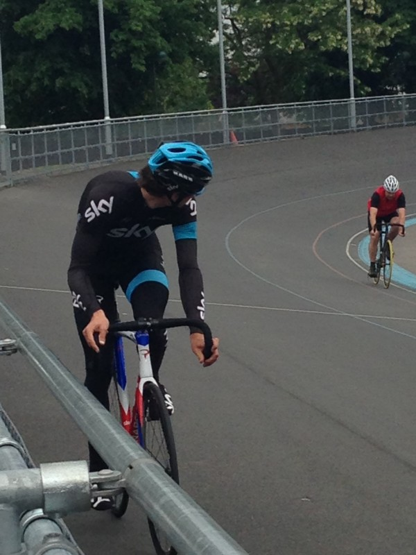 Ben Swift on the banking at Herne Hill