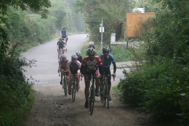 Crossing from tarmac to dirt track, typical 'cross sportive action