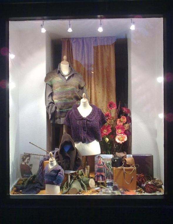 Autumn window wool shop