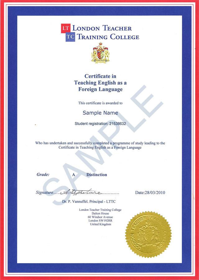 TEFL Course Certificate