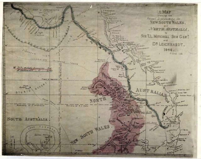 Sir Thomas Mitchell & Ludwig Leichardt, A map shewing the recent discoveries in New South Wales and North Australia 1846