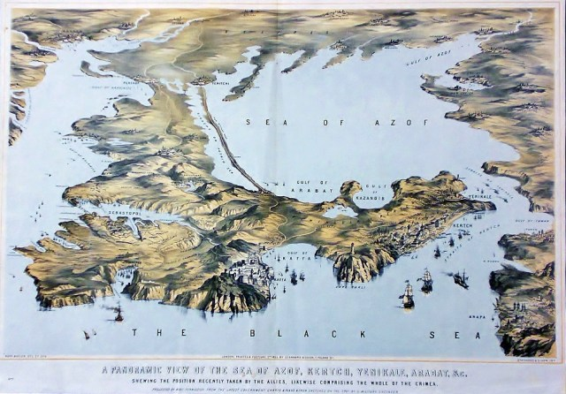 A panoramic view of the Sea of Azof, Kertch, Yenikale, Arabat, &c. shewing the position recently taken by the allies, likewise comprising the whole of the Crimea 1855