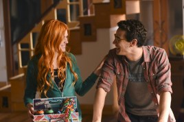 """SHADOWHUNTERS - """"The Mortal Cup"""" - One young woman realizes how dark the city can really be when she learns the truth about her past in the series premiere of """"Shadowhunters"""" on Tuesday, January 12th at 9:00 - 10:00 PM ET/PT. ABC Family is becoming Freeform in January 2016. Based on the bestselling young adult fantasy book series The Mortal Instruments by Cassandra Clare, """"Shadowhunters"""" follows Clary Fray, who finds out on her birthday that she is not who she thinks she is but rather comes from a long line of Shadowhunters - human-angel hybrids who hunt down demons. Now thrown into the world of demon hunting after her mother is kidnapped, Clary must rely on the mysterious Jace and his fellow Shadowhunters Isabelle and Alec to navigate this new dark world. With her best friend Simon in tow, Clary must now live among faeries, warlocks, vampires and werewolves to find answers that could help her find her mother. Nothing is as it seems, including her close family friend Luke who knows more than he is letting on, as well as the enigmatic warlock Magnus Bane who could hold the key to unlocking Clary's past. (ABC Family/John Medland) KATHERINE MCNAMARA, ALBERTO ROSENDE"""