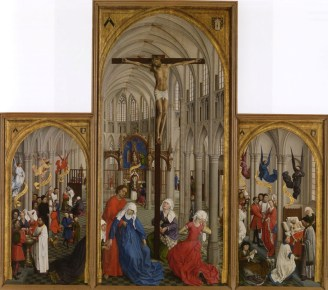 Rogier van der Weyden, The Seven Sacraments, c. 1450, oil on panel, left wing: 122.5 x 65.7 cm; centre panel: 204 x 99 cm; right wing: 122.7 x 65.8 cm Koninklijk Museum voor Schone Kunsten, Antwerp.