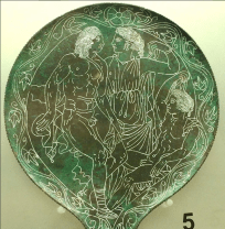 Etruscan mirror exhibited in the Villa Giulia. Photo by Catherine Parsonage.