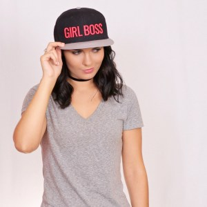 Girl Boss snapback pink black gray