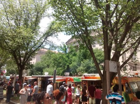 Food trucks all in a line