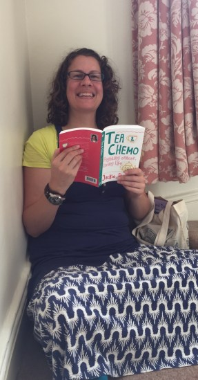 Britta reading Tea & Chemo in Filey, UK