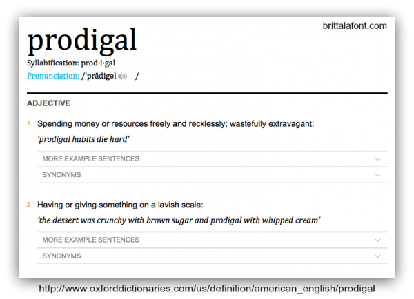 brittalafont.com prodigal definition