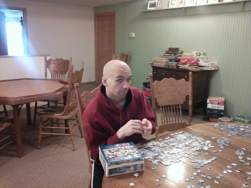 enjoying a jigsaw puzzle at Canyon Road Inn