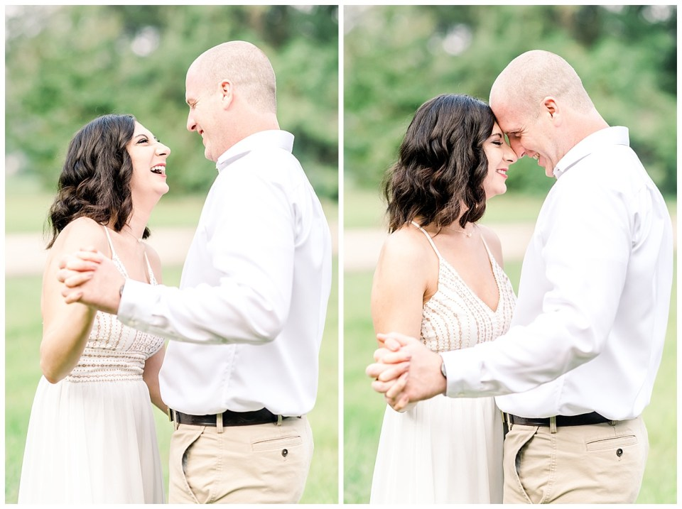 couple laughing during engagement photos