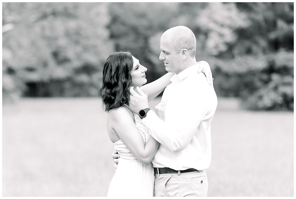 black and white image of couple during a morning light engagement session