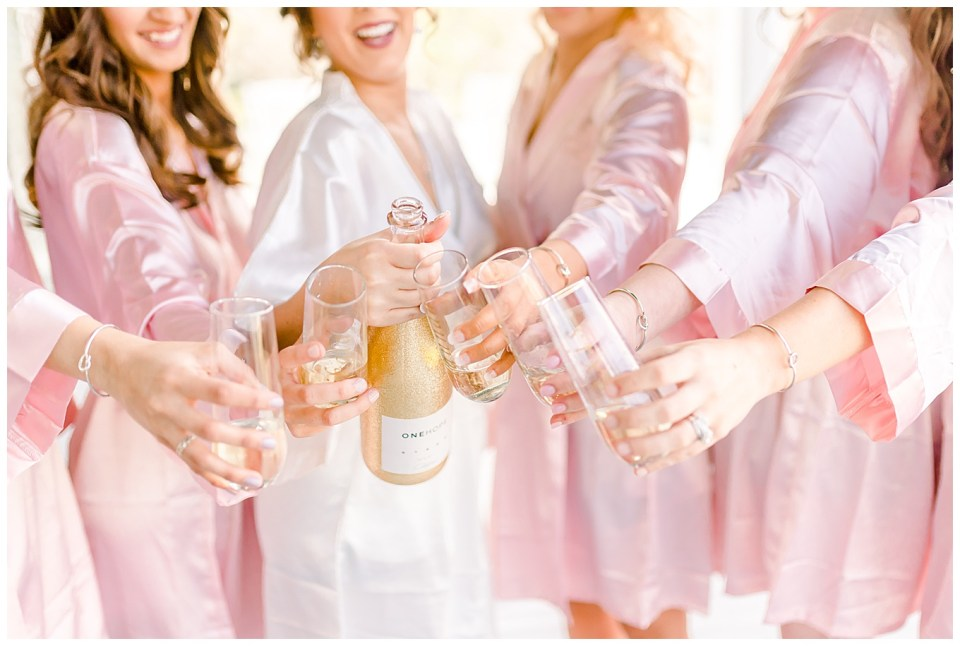 bride and bridesmaids toasting on wedding day on a plantation