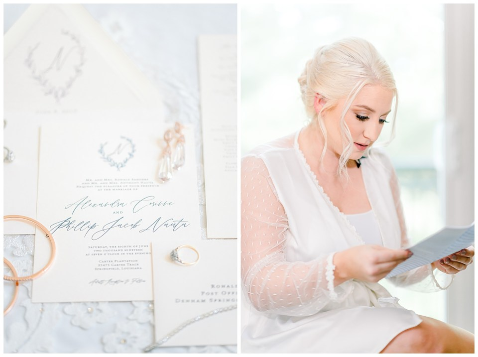 bright and airy wedding day details and bride reading a letter