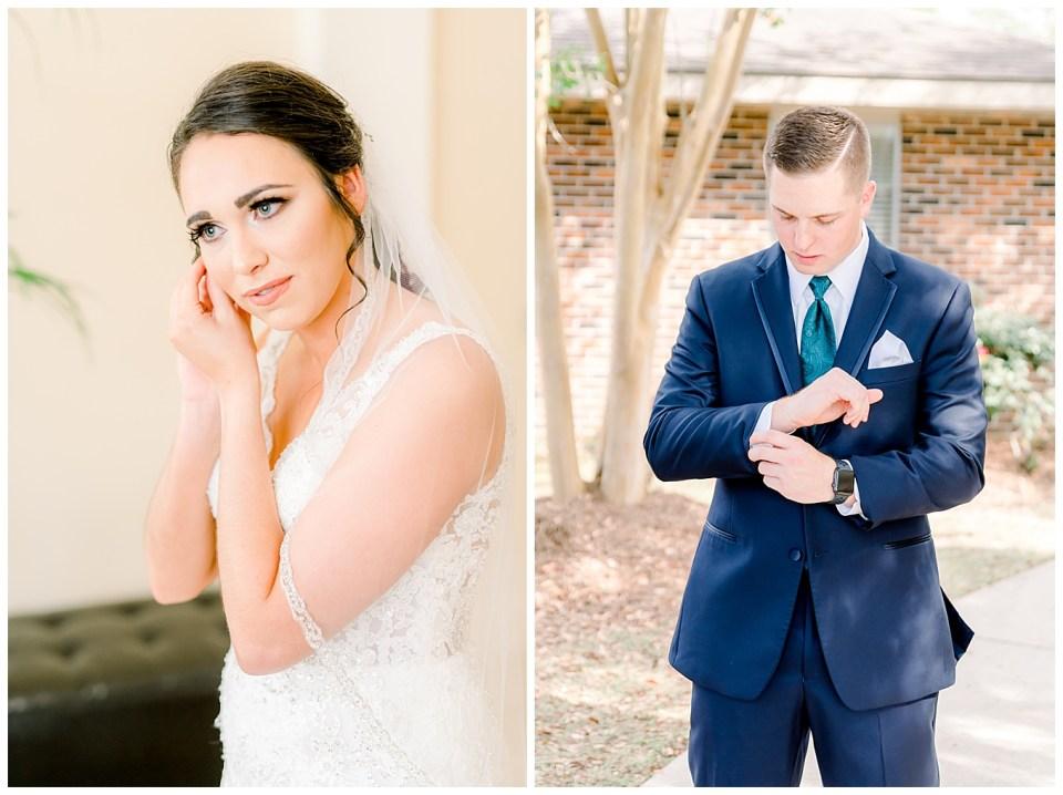 louisiana bride and groom getting ready