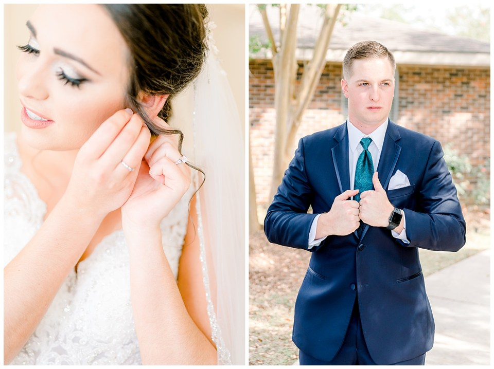 baton rouge bride and groom getting ready