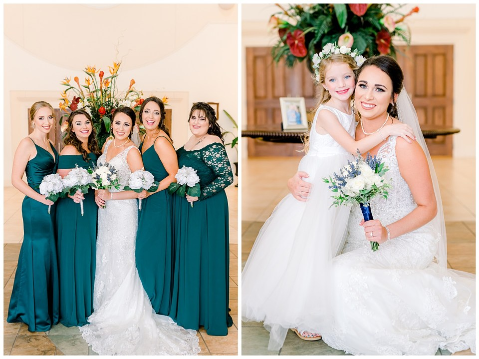 denham springs bride with bridal party on wedding day