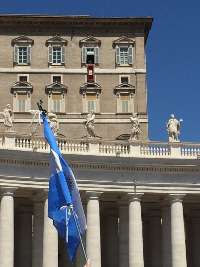 We saw Pope Francis in St. Peter's Square! (He's really there, just look closely!)