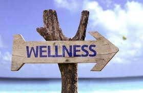 """Photo of an arrow with wellness written on it. """"Wellness this way"""""""