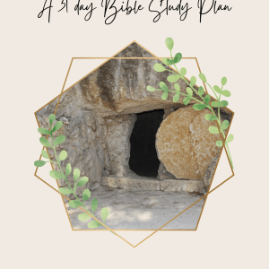 """Cover page for devotional with the title """"Walking out the Resurrection"""" and an empty tomb by Brittany Turner"""
