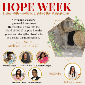 Hope week graphic with speakers