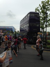 The Knight Bus stationed outside Diagon Alley.