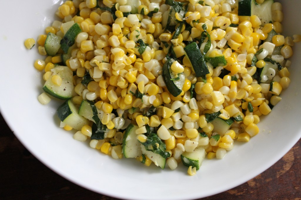 Zucchini and Corn W/Basil-A light and refreshing side dish that is bursting with simple flavors! Gluten free and paleo too! {Brittany's Pantry}