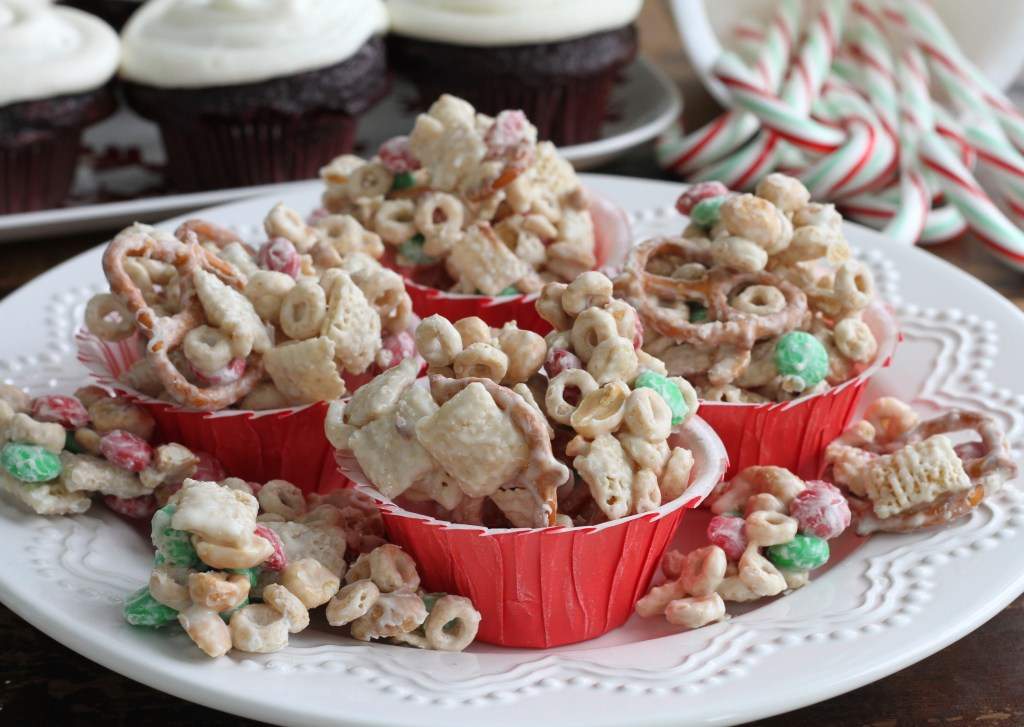 White Chocolate Christmas Munch is full of addictive snacks and drenched in just a tiny bit of white chocolate! Truly special for a holiday treat! {Brittany's Pantry}