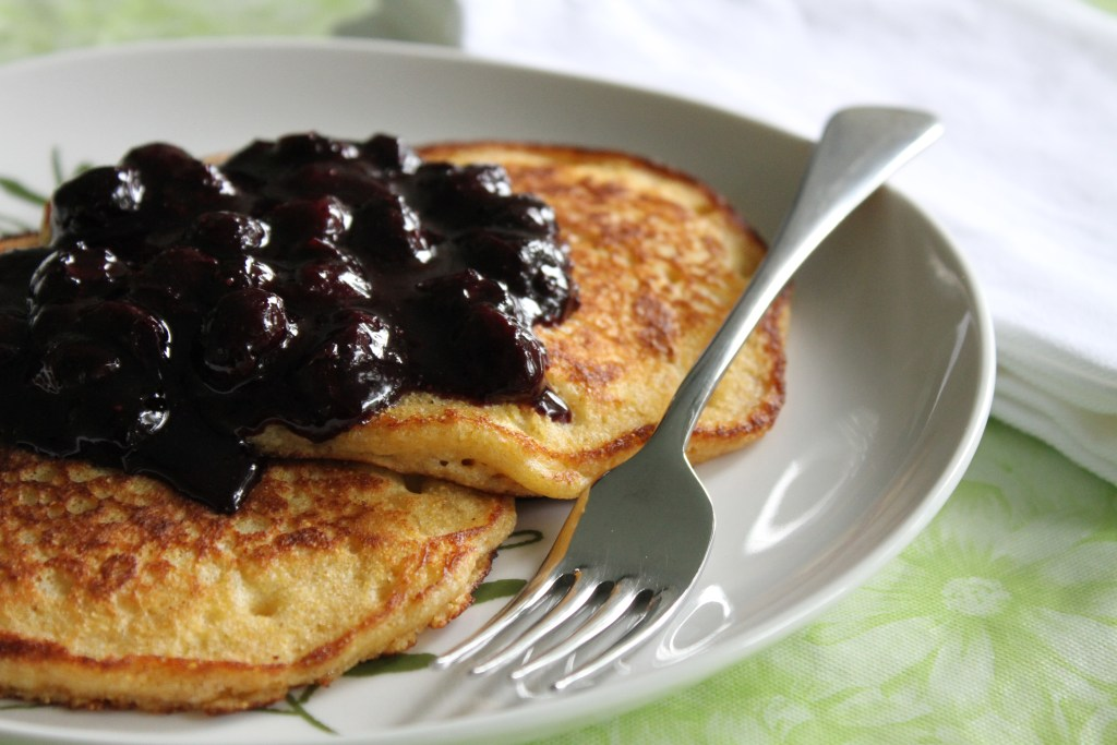 Cornmeal Pancakes W/Maple Blueberry Sauce-Brittany's Pantry