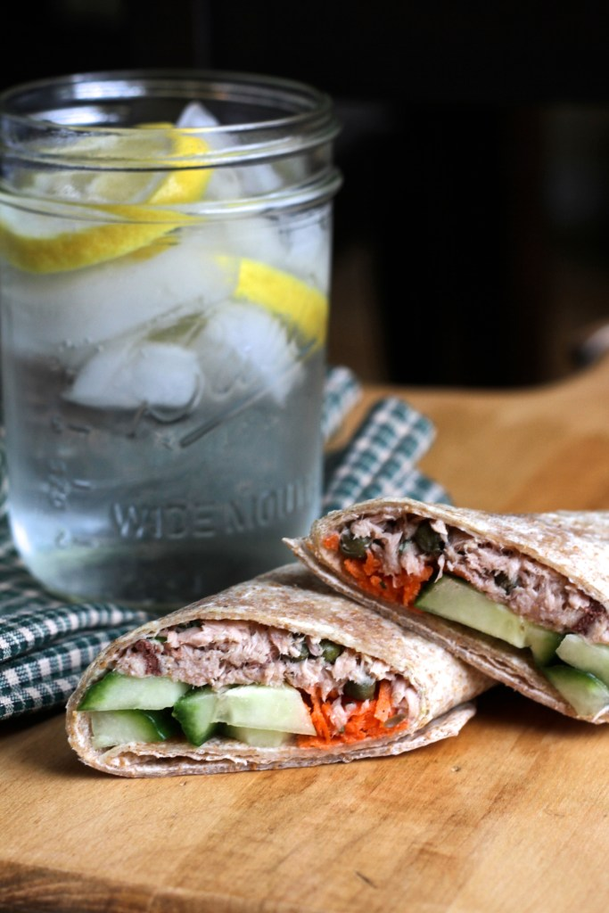 Light and Tangy Tuna Wraps are full of bright, crisp flavors! Sure to become a lunchtime favorite! {Brittany's Pantry}