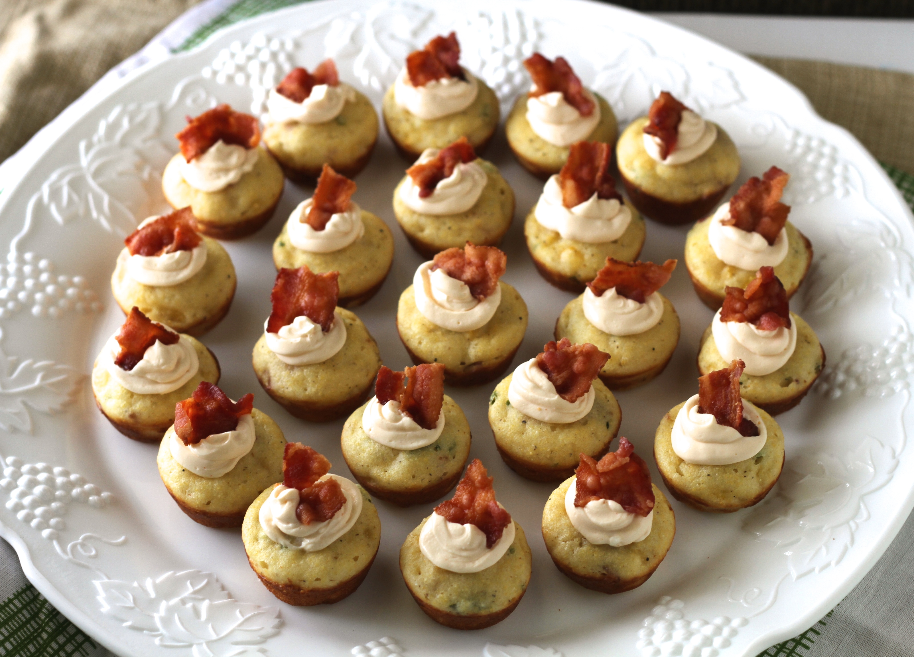 Mini Corn Muffins W/Bacon, Chives & Spicy Cream Cheese Whip - Brittany ...