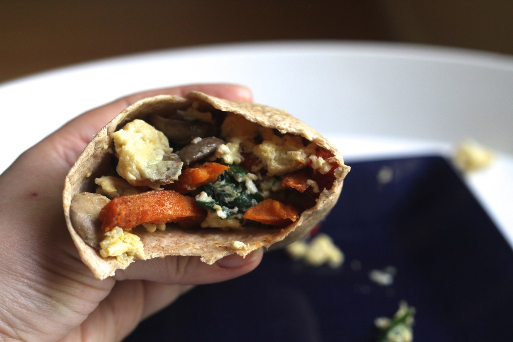 Sweet Potato & Veggie Breakfast Wraps are a great new way to use Alexia Potatoes! Recipe via Brittany's Pantry