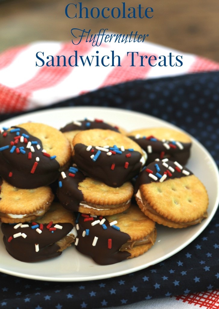Chocolate Fluffernutter Sandwich Treats that are perfect for Independence Day!  Super easy and a great kid activity too! {Brittany's Pantry}