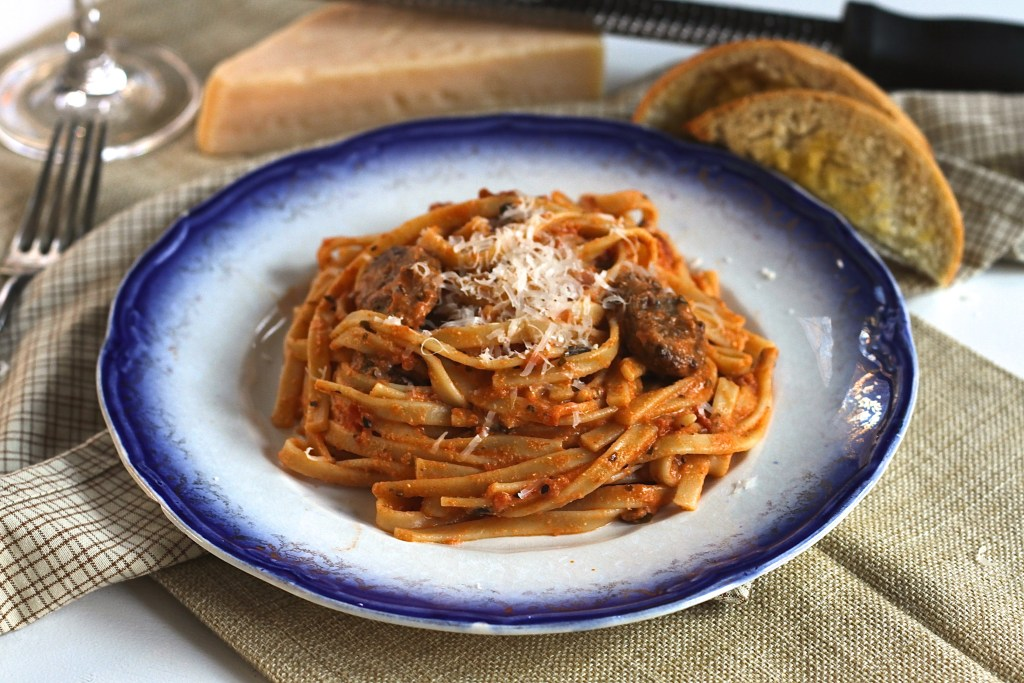 This Pasta With Vodka Sauce tastes fancy, but it is super easy. Great for a special night! {Brittany's Pantry}