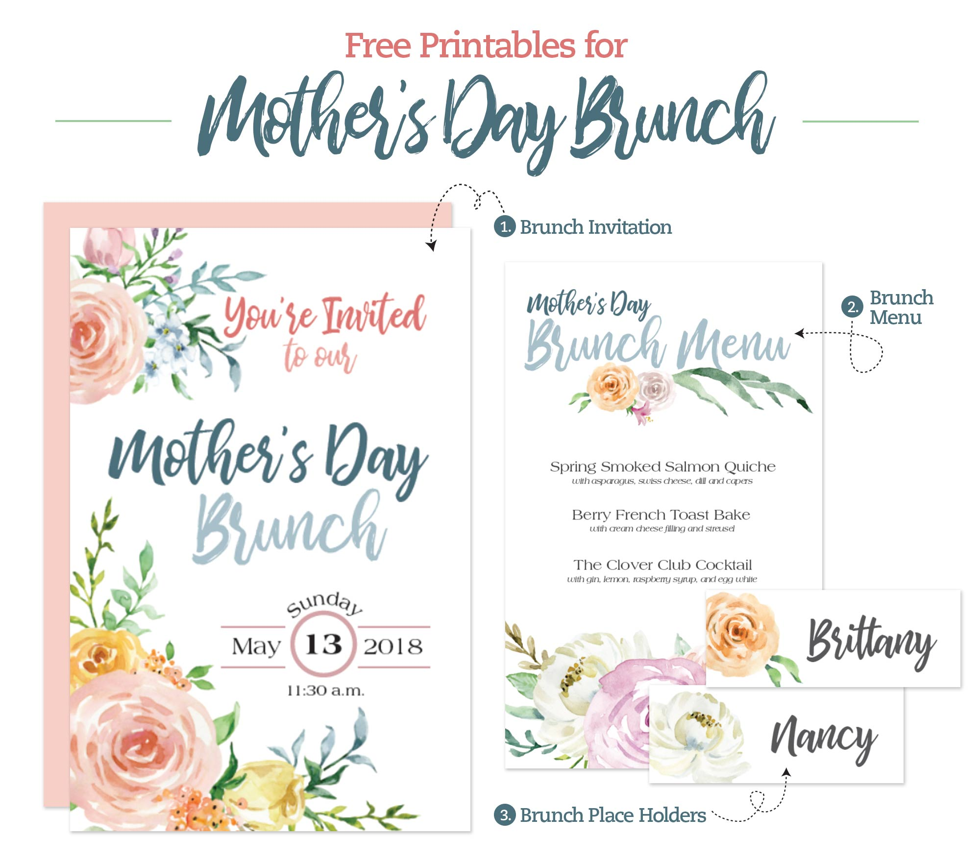 Mother S Day Brunch Printable Menu Invitation And Place
