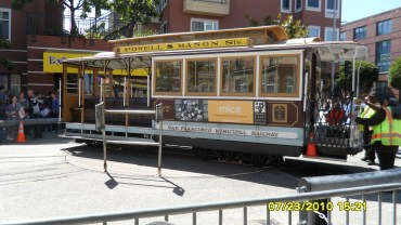 cable car turning around