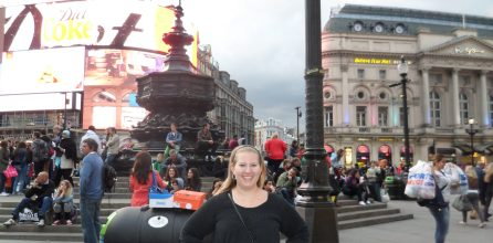 me in front of Piccadilly Circus