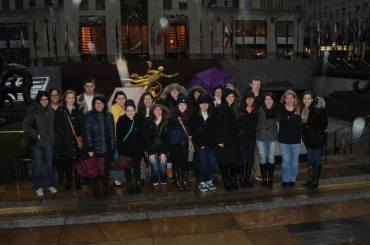 group in front of Rockefeller Center