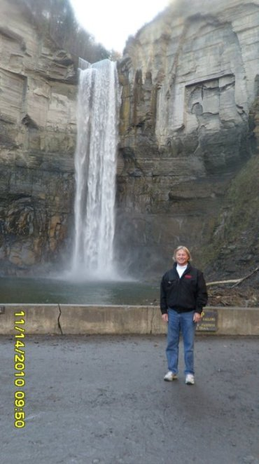 dad in front of the big waterfall