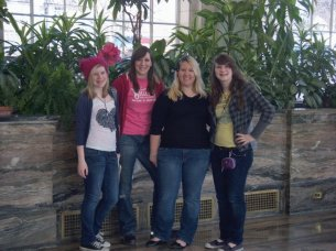 Becky, Alicha, Kelly, and I in the garden room