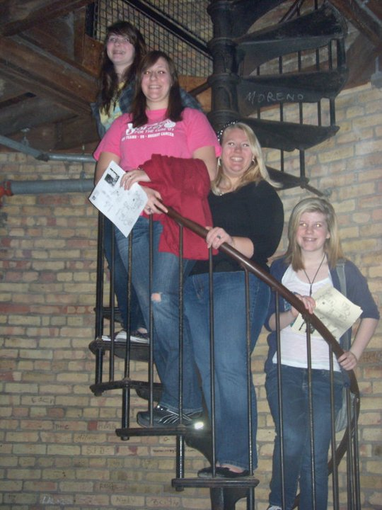 Kelly, Alicha, Becky, and I in the spooky tunnels