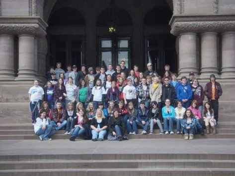 group in front of the Ontario Science Centre