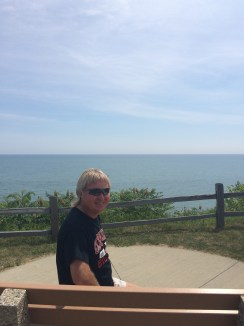 dad in front of Lake Huron