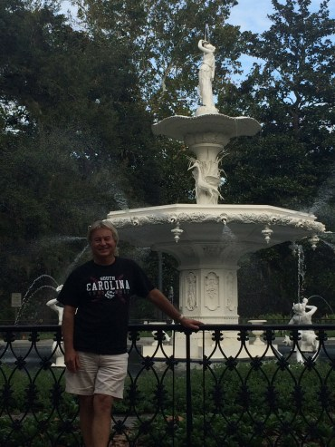 dad in front of the Forsyth Park Fountain