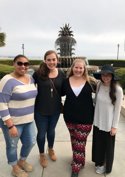 Gabby, Sarah, me, and Dianna in front of the Pineapple Fountain