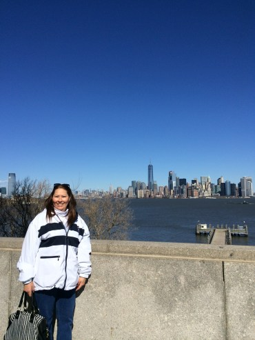 mom in front of the skyline