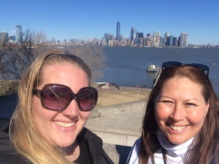 mom and I in front of the skyline
