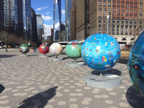 cool globes in Battery Park