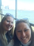 mom and I on the boat back to the Battery Park