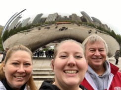 my parents and I in front of the bean